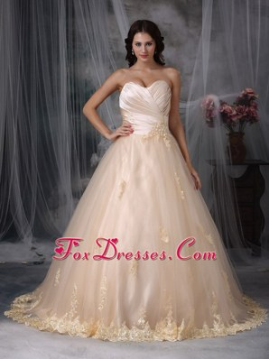 Beautiful Princess Sweetheart Appliques ruched Wedding Dress with Champagne Color