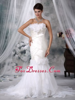 Ivory Trumpet Mermaid Wedding Dress Strapless Satin Organza