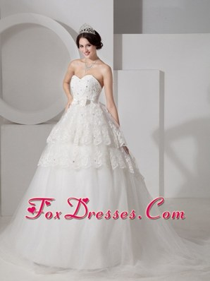 A-line Sweetheart Wedding Dress Brush Train Tulle Sash Beading