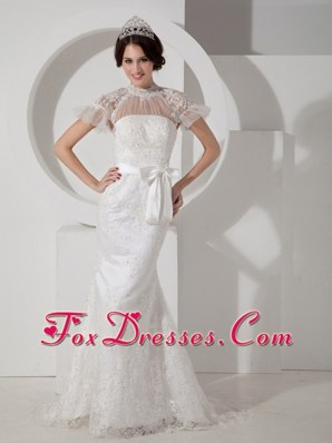 2013 Fashionable Wedding Dress Column High-neck Brush Train