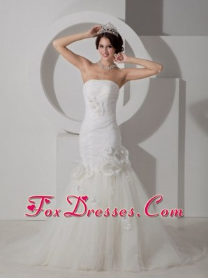 Mermaid Wedding Dress Strapless Court Train Tulle Floral