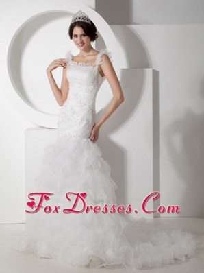 Mermaid Straps Wedding Dress Court Train Organza Appliques