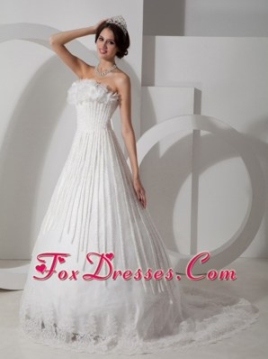 Modest A-line Strapless Brush Train Satin Wedding Dress