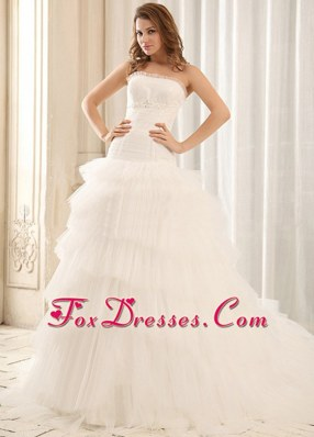Popular Ball Gown Appliques Wedding Dress Ruffled Layers