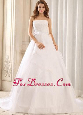 2013 Sash Appliques Wedding Gowns Ruffled Layers Organza