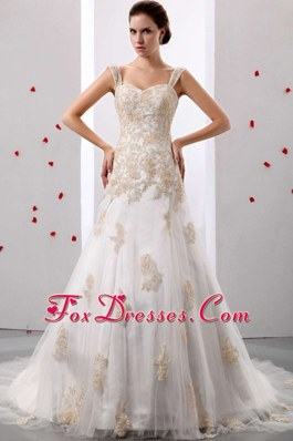 A-line Appliques Decorate Bridal Wedding Dress Court Train
