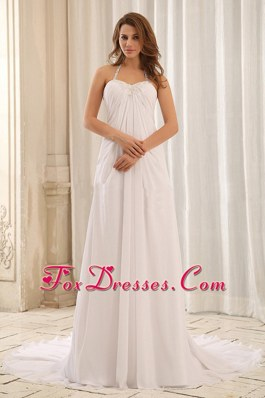 Empire Halter Appliques Ruch Wedding Dress For Outdoor