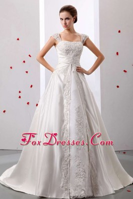 A-line Straps Lace Decorate Wedding Dress Ruched Bodice