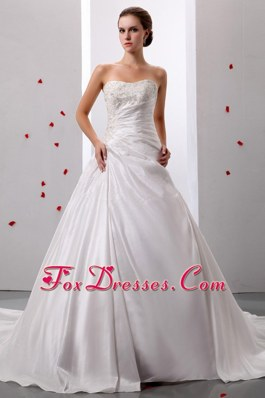 Princess Appliques Ruch Decorate Wedding Gowns Taffeta
