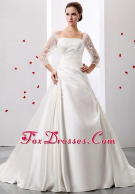 A-line Square Weding Gown Dress Ruch Appliques Satin