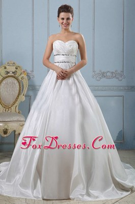 Princess Sweetheart Beaded Decorate Ruch Wedding Gowns