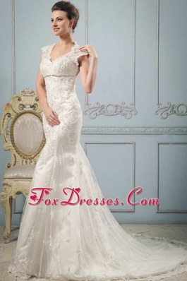 Mermaid 2013 V-neck BeadedLace Wedding Dress