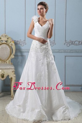 V-neck A-line 2013 Wedding Dress Lace Ruched Bodice