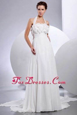 Empire Halter 2013 Wedding Dress Hand Made Flowers Appliques