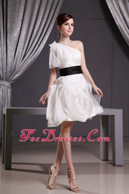 2013 One Shoulder Short Dress for Wedding with Belt
