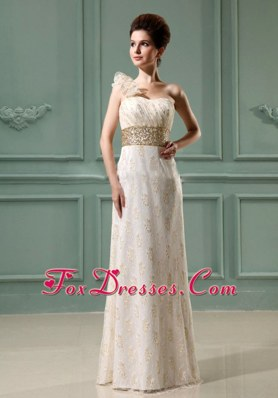 Beaded Waist One Shoulder Wedding Dress in Champagne