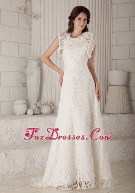 2013 Lovely Lace Wedding Dress Column Brush Train