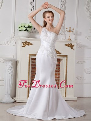 Informal Mermaid One Shoulder Wedding Dress Lace