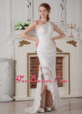 One Shoulder Perfect Lace Side Slit Wedding Dress