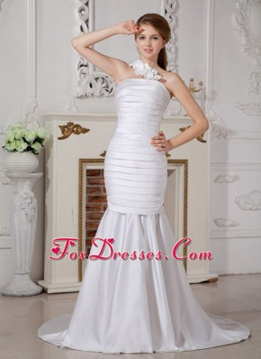 2013 Pretty Ruch Wedding Dress Mermaid One Shoulder