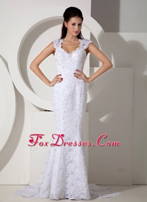 Traditional Mermaid Beaded Lace Cap Sleeves Bridal Dress