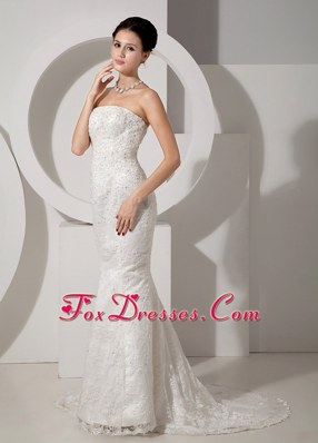 Lace Beading Wedding Dress 2013 Mermaid Court Train