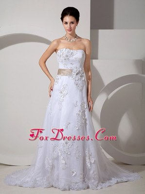 Court Train Satin Lace Wedding Dress with Belt 2013