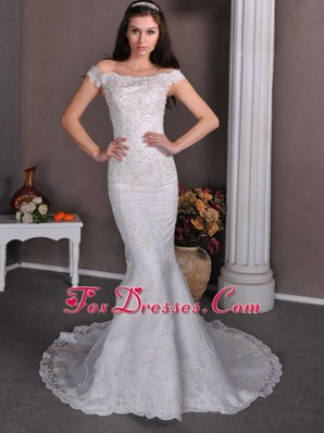 Column Off The Shoulder Brush Lace Wedding Gown for 2013