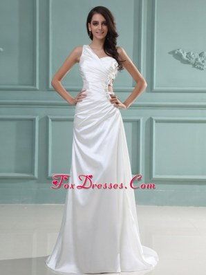 One Shoulder Wedding Dress 2013 With Brush Beaded Customize