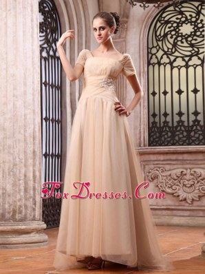 Champagne 2013 Wedding Dress Appliques Square Short Sleeves