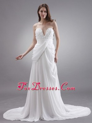 Sweetheart Wedding Dress With Hand Made 2013 Court Chiffon