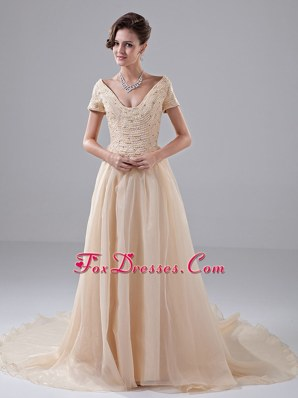 Beading Short sleeves Champagne 2013 Bridal Dress V-neck