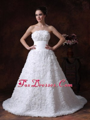 Rolling Flowers A-Line Chapel Train 2013 Wedding Gown