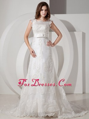 Popular 2013 A-line Square Wedding Dress Court Lace Belt
