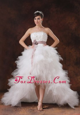 High-low Wedding Dress 2013 With Brush Belt Flowers Ruffled