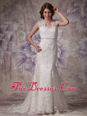 2013 Mermaid Wedding Dress Straps Court Lace Beading