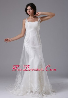 2013 Elegant Wedding Dress Brush A-line with Straps