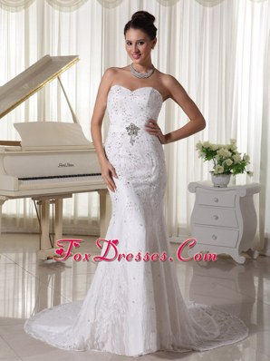 Wedding Gowns 2013 Sweetheart Court Sheath Beading Lace