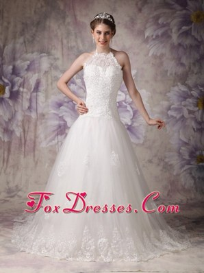 Princess Halter Chapel 2013 Chic Beading Wedding Dress