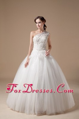2013 Best Ball Gown Wedding Dress One Shoulder Appliques
