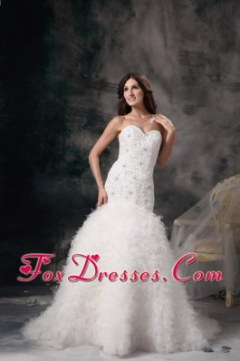 Sweetheart Brush Feather Mermaid Beading Wedding Dress