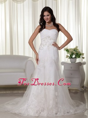 A-line Appliques Beautiful Wedding Dress 2013 Sweetheart