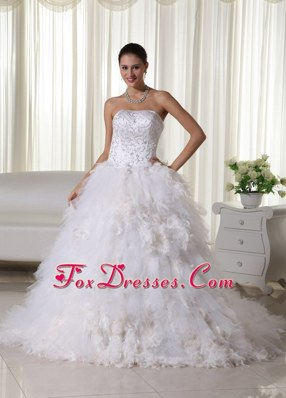 2013 A-line Chapel Embroidery Wedding Dress Feather Decorate