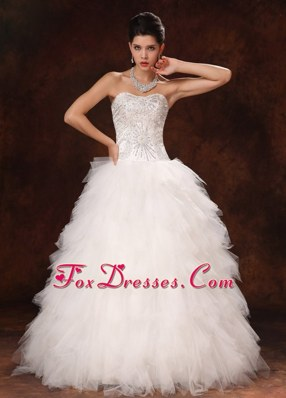 Tulle Ruffles Sweetheart A-line Chic Wedding Dress For 2013