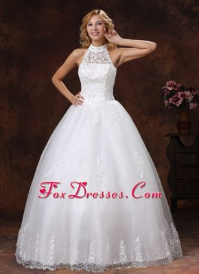 Halter Appliques Beading 2013 Luxurious Wedding Dress