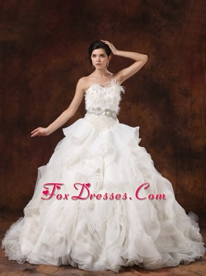 Beaded Decorate Ruffled Feather Wedding Dress 2013 Sweetheart