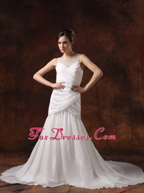 Scoop A-line Chiffon Ruch 2013 Wedding Dress Beaded Decorate
