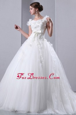 2013 A-line Scoop Cathedral Wedding Dress