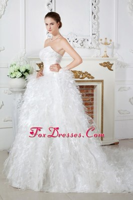 Discount Beaded Feather Wedding Dress 2013 Sweetheart