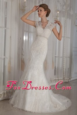 Elegant Beading Wedding Dress 2013 Trumpet V-Neck Court Lace